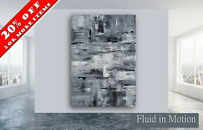 60x40 Original ex Large Black White abstract painting wall art deco by Elsisy