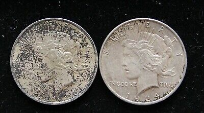 Two (2) Toned Circ Peace Silver Dollars 1923 & 1924 90% Bullion Pre-1964 $'s