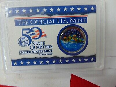 1999 NEW JERSEY COLORED Quarter US Mint Licensed Holder HE HARRIS & CO. COIN