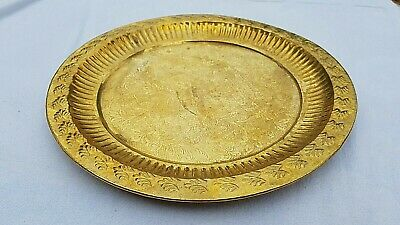 Rare Old Antique ottoman Islamic Middle Eastern Turkish Copper Tray salver 28cm