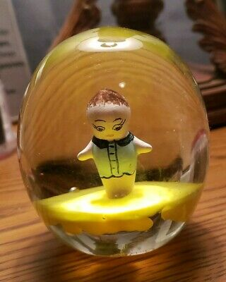 Vintage Rare Glass Joe St Clair Paper Weight Sulphide Colored Doll