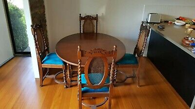 1920's Antique oval folding table & four chairs. Pickup from Sandringham Vic3191