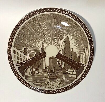 """Vernon Kilns """"Our America - Draw Bridge"""" Plate Designed by Rockwell Kent"""