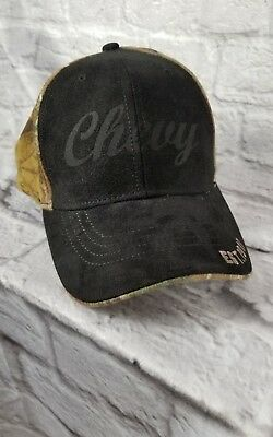 55ecb5a19c9 Paramount Outdoors Hat CHEVY Logo Adjustable Fit Black Camo Suede Top  Realtree