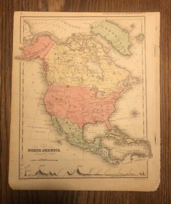 TWO Original Antique Maps From 1875. North America and Africa