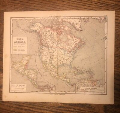 "Antique Original 1872 Map of North America or ""NordAmerika"" and Central Amerika"