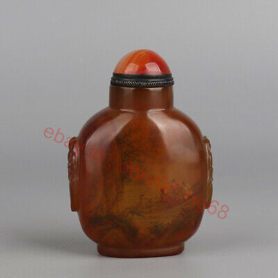 Chinese Exquisite Handmade landscape people glass Inside painting snuff bottle