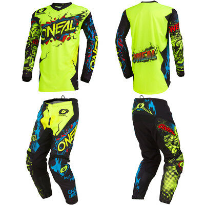 ONeal Element Villain Neon motocross MX dirt bike gear - Jersey Pants combo set
