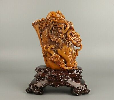Chinese Exquisite Hand-carved Mythical beast Carving Shoushan Stone seal
