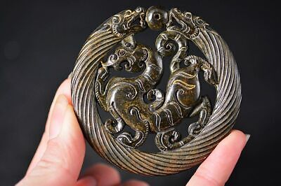 Beautiful Chinese Old jade Carved *Dragon/Beast* Amulet Lucky Pendant