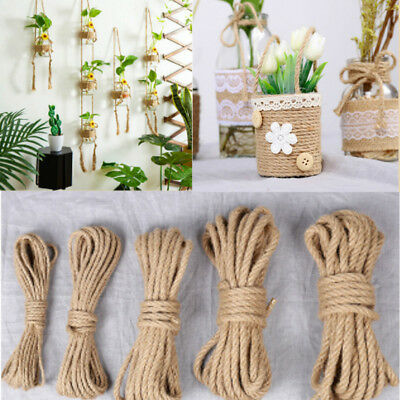 10M Natural Brown Jute Hemp Rope Hessian Twisted Twine Cord Shank Crafts String