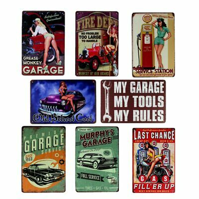 """/""""Dont touch my Tools.../"""" Funny Pin up Small Metal Steel Wall Sign Garage Rules"""