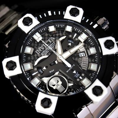 Invicta Grand Octane Marvel Punisher Black Swiss Mvt 63mm High Polish Watch New