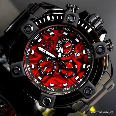 Invicta Reserve Grand Octane Red Abalone 63mm Black Steel Swiss Mvt Watch New