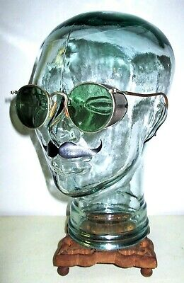 Antique American Optical Ful Vue Green Goggles Sunglasses Safety AO Vtg Retro OG