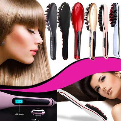 2-in-1 Electric Automatic LCD Temperature Control Brush Hair Straightener #k#