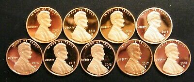 2010 2011 2012 13 14 15 2016 2017 2018 S Lincoln Shield Cent Proof Penny Set