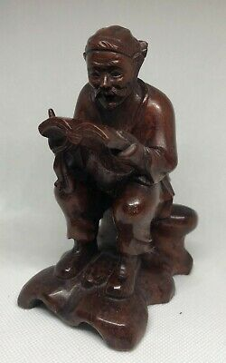 Vintage Asian Carving Man Figure Reading Book Wood