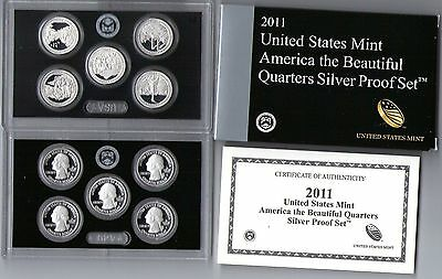 2011 S America The Beautiful Silver Quarters Proof Set 5 Coins Us Mint Coa......