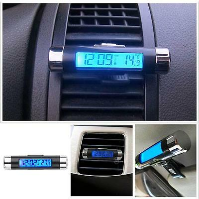 Car Air Vent Clip Stick On Electronic Clock+Thermometer Digital LCD Display