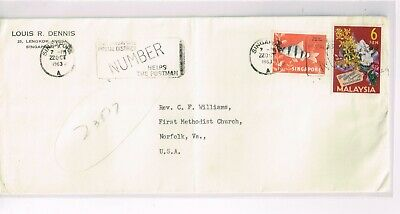 Singapore 1963  Mixed Franking cover +Both Singapore & Malaysia stamps+Scarce