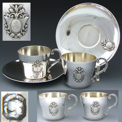 PAIR of Antique French Sterling Silver Tea Cup & Saucer Set, 4pc, Empire Style