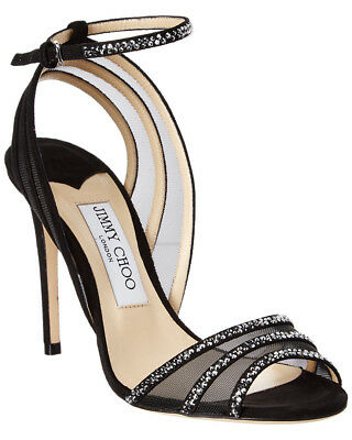 2d4e988bdaa  995 - JIMMY CHOO  BETTY 100  Black SUEDE w CRYSTALS Strappy HEELS -
