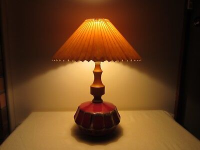 Vintage Retro Ceramic & Wood Lamp Base And Pleated Patterned Plastic Shade