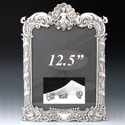 """Rare Large 12.5"""" Antique Sterling Silver Picture Frame, Rococo Style, Figural"""