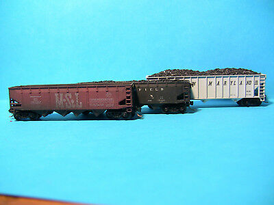 N Scale - 3 coal hoppers ( 2 loaded with real coal + 1 MTY) with MTL bogies