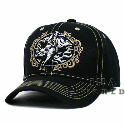 Rodeo Cowboy hat Western Style Embroidered Baseball cap Size Adjustable -  Black 85dec3ac5843