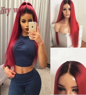 """AU 24"""" Heat Safe Fiber Hair Lace Front Wig 1B/Red Silky Straight Full Head Party"""