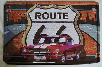 RETRO STYLE TIN SIGN - Classic Ford Mustang Route 66