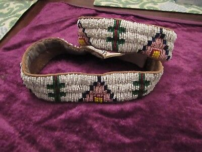 Antique Plains / Sioux  Line stitch beaded armbands early 1900s