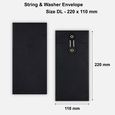 200 x DL Quality String&Washer W/O Gusset Envelopes Button-Tie Black Cheap
