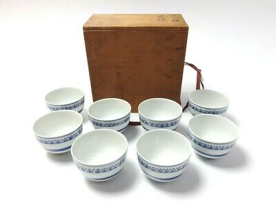 Japanese antique vintage Kyoyaki blue white porcelain Sencha tea cup set chacha