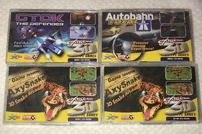 Mini CD-Rom Extreme 3D PC Games by X3D with 3D Glasses: Lot of 4 Games Nice!