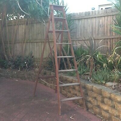 antique ladder timber step ladder