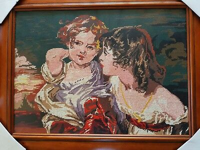 VINTAGE Completed TAPESTRY 2 Young Girls Wooden Frame with Non-reflective Glass