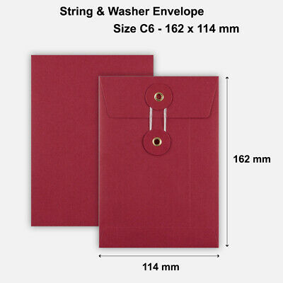 25 x C6 Quality String&Washer W/O Gusset Envelopes Button-Tie Red Cheap