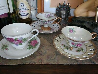 3x Vintage Japanese duos Lott & new tea cups rack Mother of pearl lustre🌼