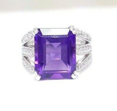 Amethyst Ring 18ct 750 18K White Gold Ladies Diamond Natural Amethyst Dress Ring