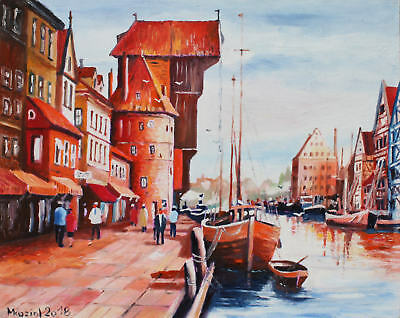 (D) oil painting POLAND GDANSK signed MKoziol_ 30x24cm