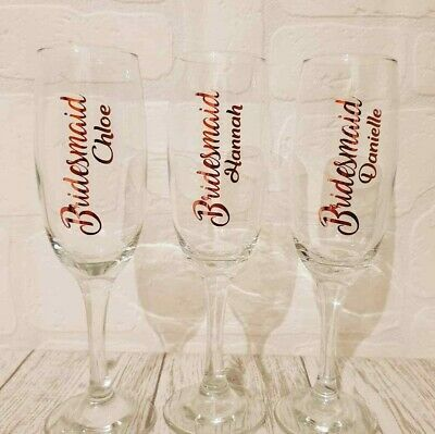 Personalised Champagne Glass flute Bride Bridesmaid Maid of Honour Team Bride