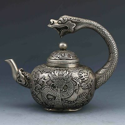 Collectible Decoration Chinese Silver Copper Handwork Carved Dragon Teapot