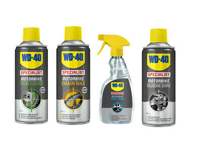 WD40 Specialist Motorcycle Cleaning Kit - Chain Cleaner - Wax - Wash - Silicone