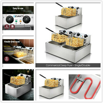 Single /Double Commercial Electric Deep Fryer Basket Chip Cooker Stainless Steel