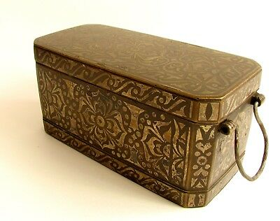 Antique Silver Inlaid Bronze Betel Nut Box (Lutuan) Philippines Early 20th Cent.