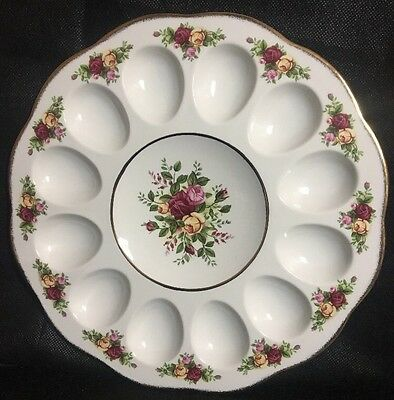 """Royal Albert Old Country Roses 11"""" Deviled Egg Dish By Royal Doulton Plate New"""