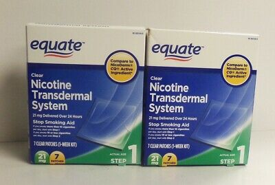 2 Pack Equate Nicotine Transdermal System Step 1 Patches, 21 Mg, 7 Ct EXP 09/20